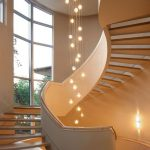 Bulb Pendants In The Middle Of The Swirling Stairs