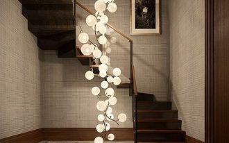 bulbs stretching from the ceiling to the floor in the middle of the stairs