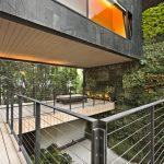 Cable Railing Deck Black Metal Handrailing Wooden Floor Bench Vertical Outdoor Garden Glass Windows Floor To Ceiling Windows