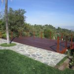 Cable Railing Deck Grass Backyard Wooden Deck Wooden Railing Cap Stone Outdoor Footsteps Palm Tree Wooden Pilar