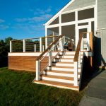 Cable Railing Deck Screened Porch Sloped Ceiling Wooden Stairs Wooden Railing Caps Outdoor Furniture Wooden Chairs