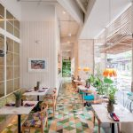 Cafe With Colorful Triangular Tiles