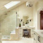 Craftsman Style Wall Sconce Light Beige Vanities Stool Wall Mirror Chandelier Glass Shower Doors Shower Head Built In Bench Beige Wall Tile Skylight