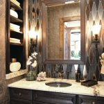 Craftsman Style Wall Sconce Mosaic Wall Tile Wall Mirror White Marble Countertop Black Wooden Vanity Built In Shelves Wall Mounted Faucets