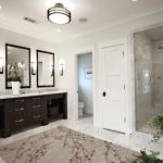 Craftsman Style Wall Sconce Wal Mirrors Bathroom Rug Glass Shower Door Dark Wooden Vanity White Granite Countertop Sinks Faucet Basket Floor Tiles
