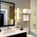 Craftsman Style Wall Sconce Wall Mirror Towel Shelf And Holder Shower Tub Combo Shower Head Mosaic Wal Tile Black Vanity Sink Faucet