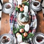 Dining Table With White Plates And Soup Mug, Plaid Tablecloth, Fall Accessories