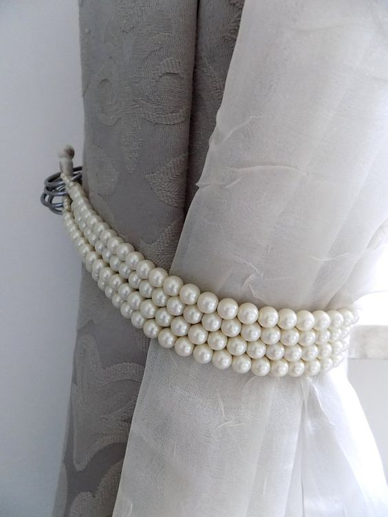 faux pearl curtain tie backs