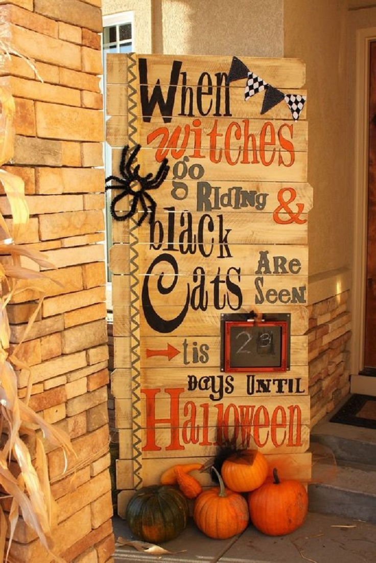 front porch wooden plank of halloween decoration