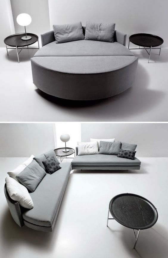 grey round bed opened to semi round sofa