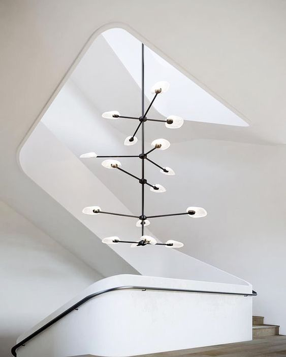 interesting white in black metal pendants in the stairs