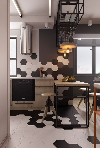 kitchen with white hexagonal tiles, combine artistically with black hexagonal tiles, to the wall