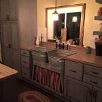 Kitchen With Wooden Top, Iron Sheeting Cabinet, Washtub Sink, Curtain Covered Cabinet Under The Sink