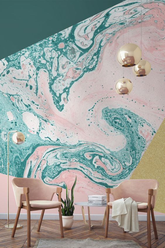 mural wall painted with soft pink and green
