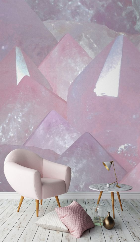 murals wallpaper with pink crystal wallpaper