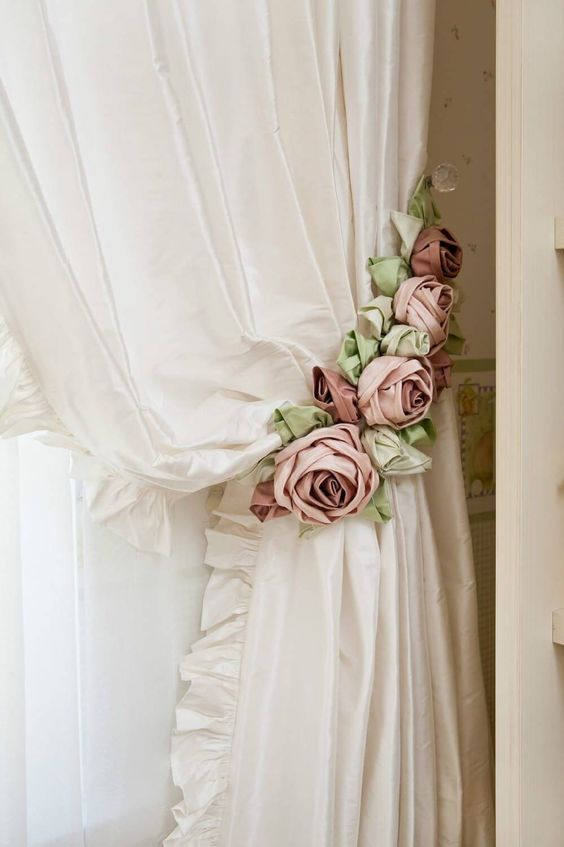 pink flowery curtain tie backs