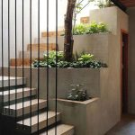 Plants Decorate The Stairs From Concrete And Woods Combined With Wired Hold