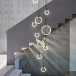 Ring Shaped Pendants In The Middle Of The Stairs