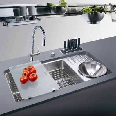 stainless steel sink with one basin, cutting board, drying racks, knives shelves
