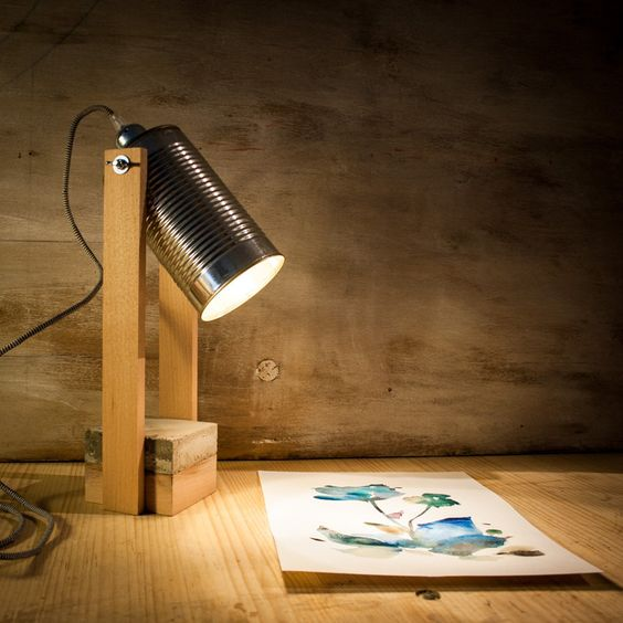 table lamp with wood body and support, metal head