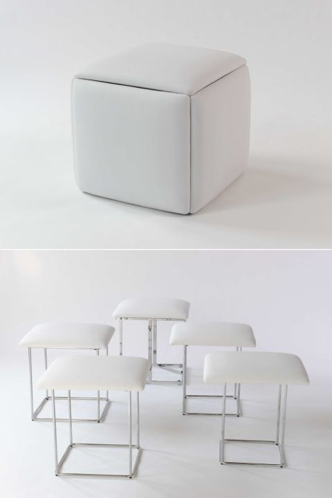 white cube opened as five chairs