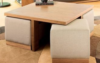 wooden brown table with beige chairs under the table