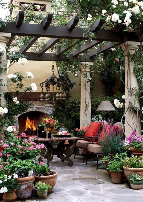 wooden gazebo with flowers and plants vines creep, stone flooring