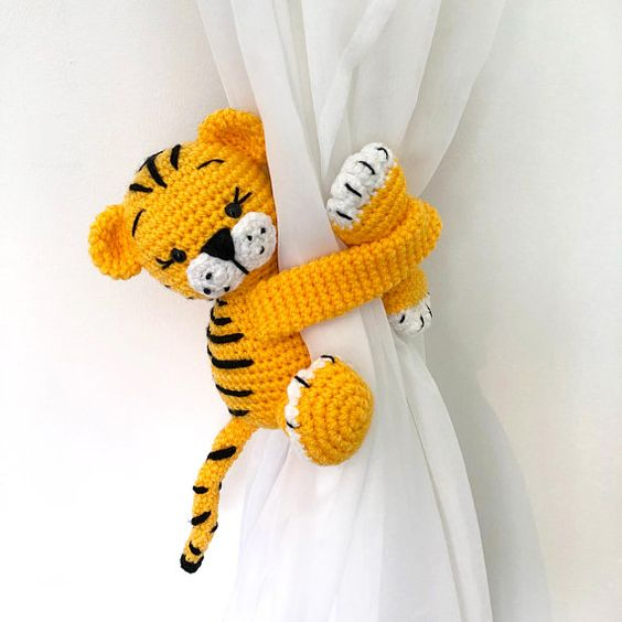 yellow tiger crochetted curtain tie back