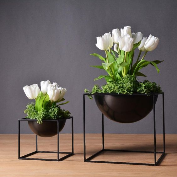dark cube metal flower planter