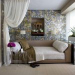 Daybed Room Ideas Brown Daybed Glass Pedestal Table Mosaic Wall White Curtain Glass Window White Window Curtain Flower Vase Pillows