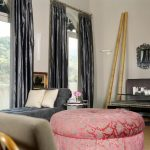 Daybed Room Ideas Suede Fabric Grey Daybed White Pillows Glass Pedestal Table Satin Grey Curtains Pink Ottoman Wall Mirrors Glass Doors Glass Windows