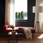 Daybed Room Ideas Wooden Floor Red Daybed Floor Lamp White Curtains Black Walls Square Glass Coffee Table Glass Window Throw