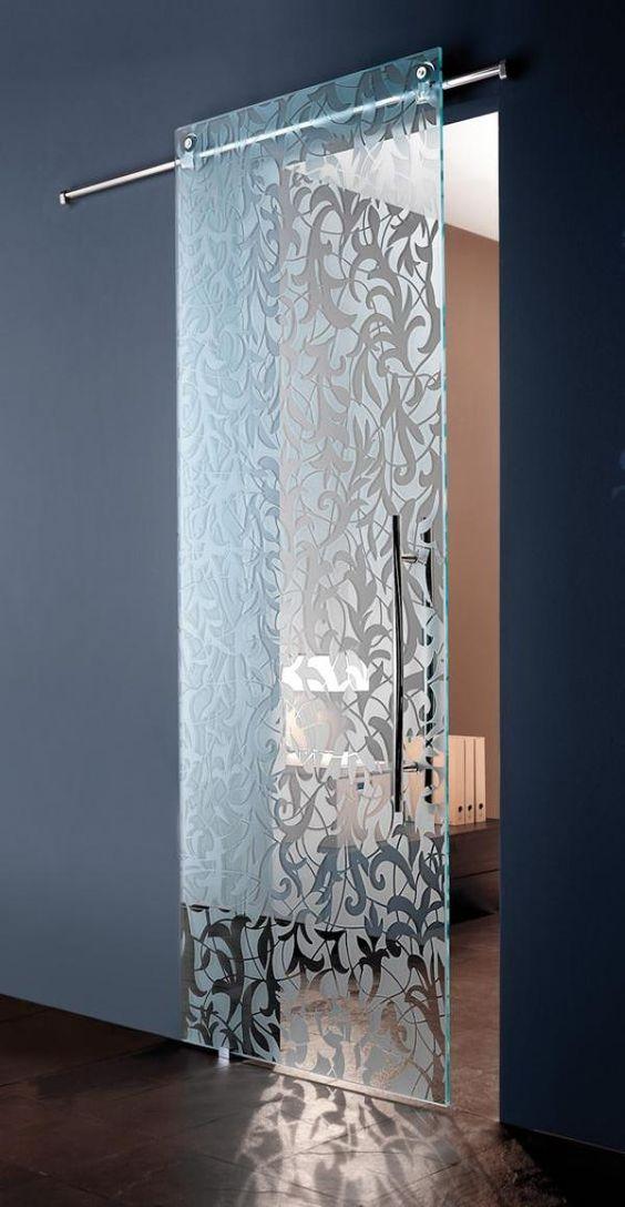 delicate patterned glass door