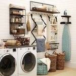 Laundry Room With Two Machines, Rattan Baskets, Drying Racks, Shelves, Ironing Table