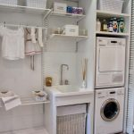 One Big Shelve Of Two Machines, Cleansing Supplies, Baskets, White Sink, Drying Racks