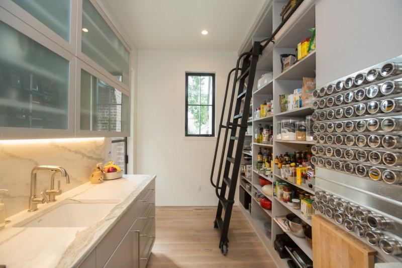 pantry ladder black metal ladderblack iron ladder rail wooden floor magnetic storage grey shelves wooden floor glass window sink faucet frosted glass cabinet