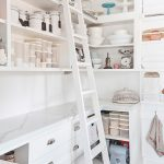 Pantry Ladder White Wooden Ladder White Wooden Shelves Storages Wooden Floor White Marble Countertop White Backsplash White Rack Drawers