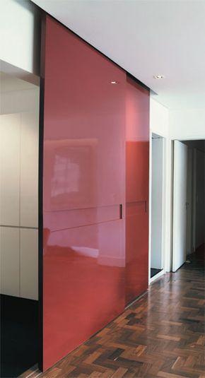 red glossy double sliding door