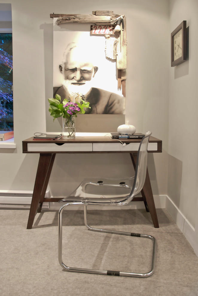 small writing desk with drawers stainless steel ghost chair base minimalist wooden desk white drawers artwork glass flower vase windows light fixture