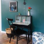 Small Writing Desk With Drawers Teal Wall Black Wooden Desk Black Wooden Chair Colorful Stool Wooden Floor Wall Sconce Artwork Basket