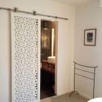 White Lace Wooden Sliding Door To The Bathroom