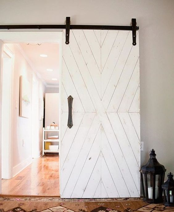 white wooden sliding door