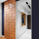 Wooden Sliding Door With Line Pattern