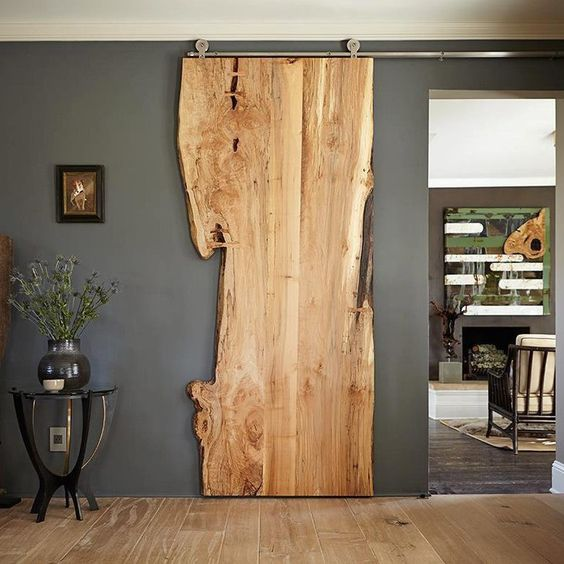 wooden sliding door with raw look and slab