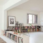 A Line Of White Wooden Shelves On The Floor Not More Than 1 Metre In White Painted Room