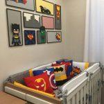 Baby Crib With Superhero Pillows, Superheroes Wall Decor