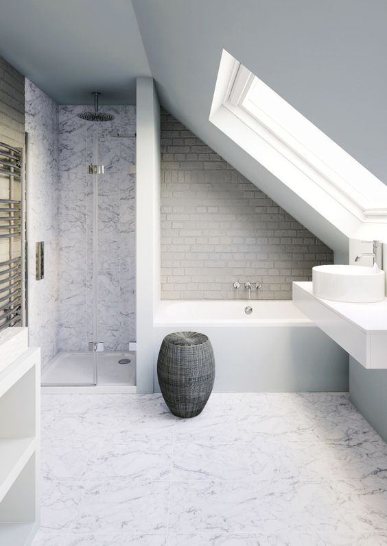 bathroom, WHITE MARBLE FLOOR, WHITE MARBLE WALL ON SHOWER, WHITE WALL, GREY SUBWAY TILES on tub, white vanity, white sink, glass windows