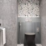 Bathroom, Grey Floor, Grey Wall, Terrazzo Accent Wall, Grey Lattice Accent Wall