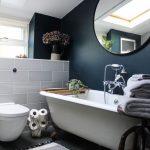 Bathroom, Grey Floor Tiles, Black Wall, White Tub, Round Mirror, White Toilet, White Partition Tiles