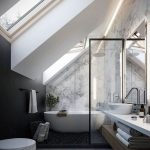 Bathroom, Grey Flooring, Black Stones, White Toilet, White Tub, Wooden Shelf, White Vanity, White Sink, Glass Partition, White Marble Wall, White Painted Ceiling, Large Glass Windows